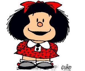 Mafalda: Professora, todo mundo sabe que sua m�e te ama e te mima... Agora, d� para ensinar algo importante?